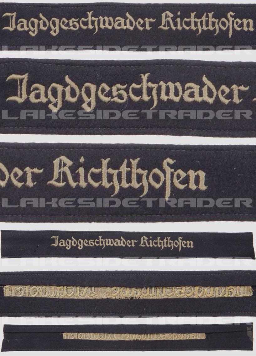 """Luftwaffe """"Jagdgeschwader Richthofen"""" Cuff Title"""