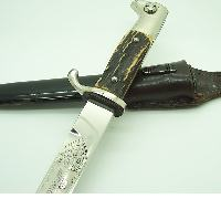 Short Etched Dress Bayonet with stag grips