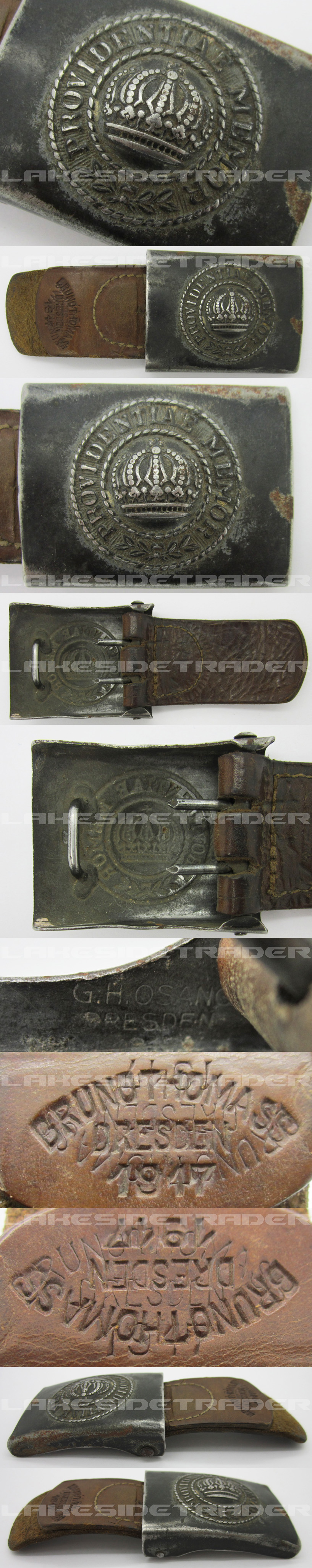 Imperial Saxony Tabbed Army Belt Buckle by Osang 1917