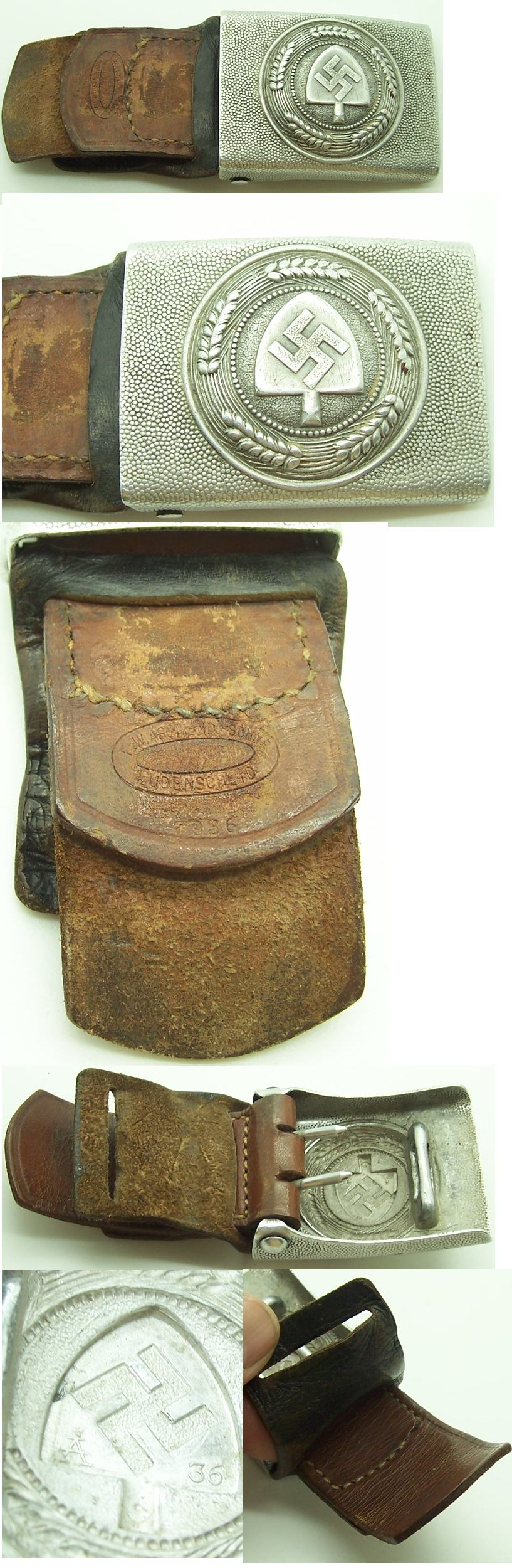 Tabbed RAD EM Belt Buckle 1936 by Assmann