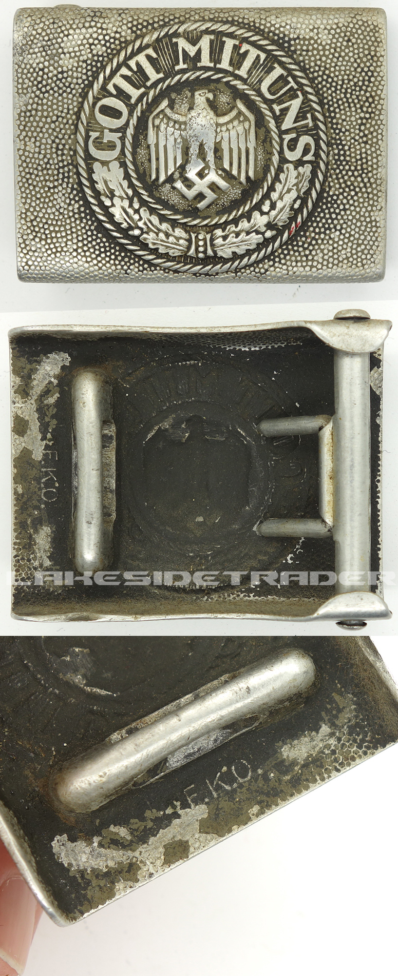 Early Aluminium Army Belt Buckle by F.K.O.