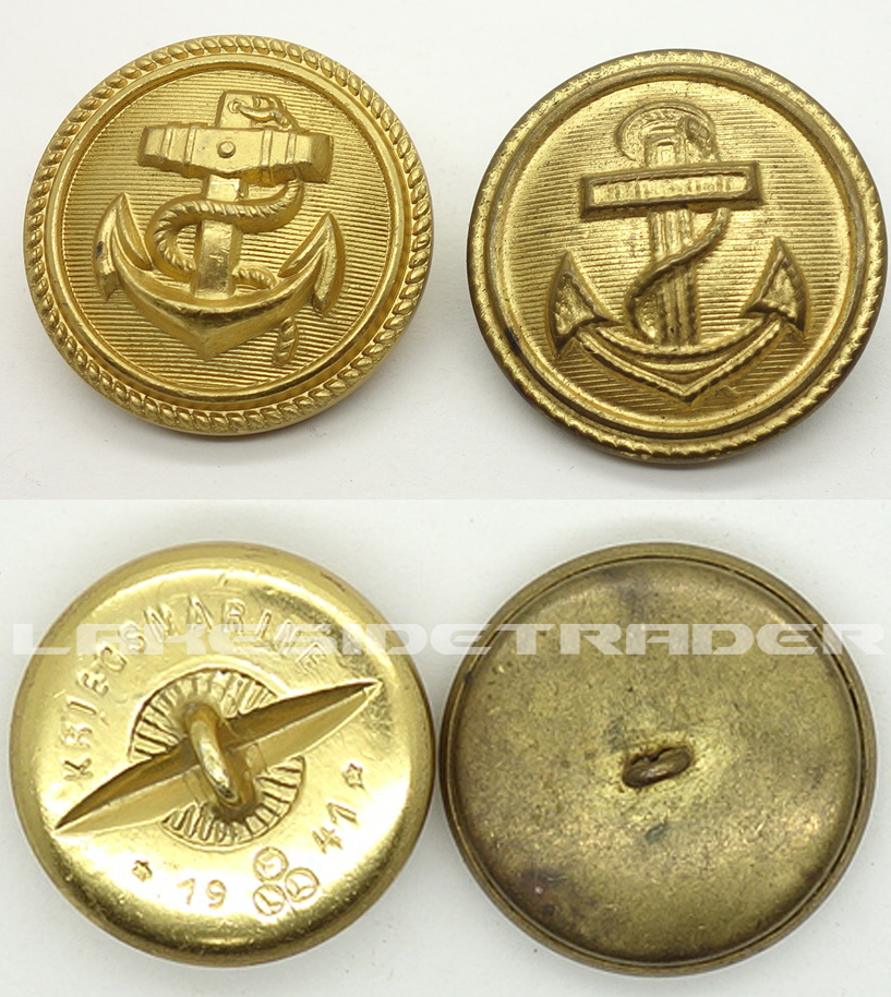 Two Navy Uniform Buttons