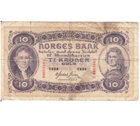 Norges Bank Ti Kroner 1939