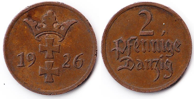 2 Pfenning Danzig 1926