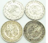 4-Deutches Reich 5 Mark coins in Silver