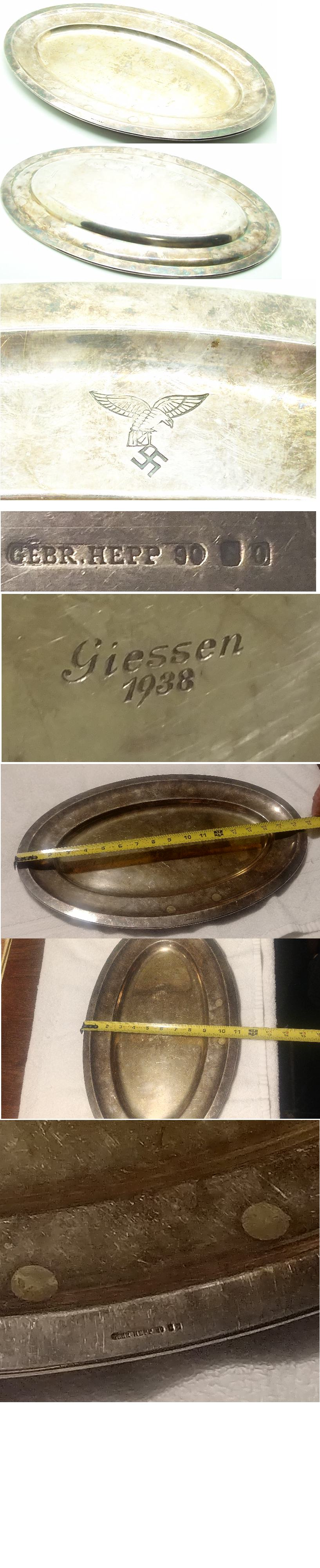 Luftwaffe Silver Serving Platter by Gebr. Hepp 1938