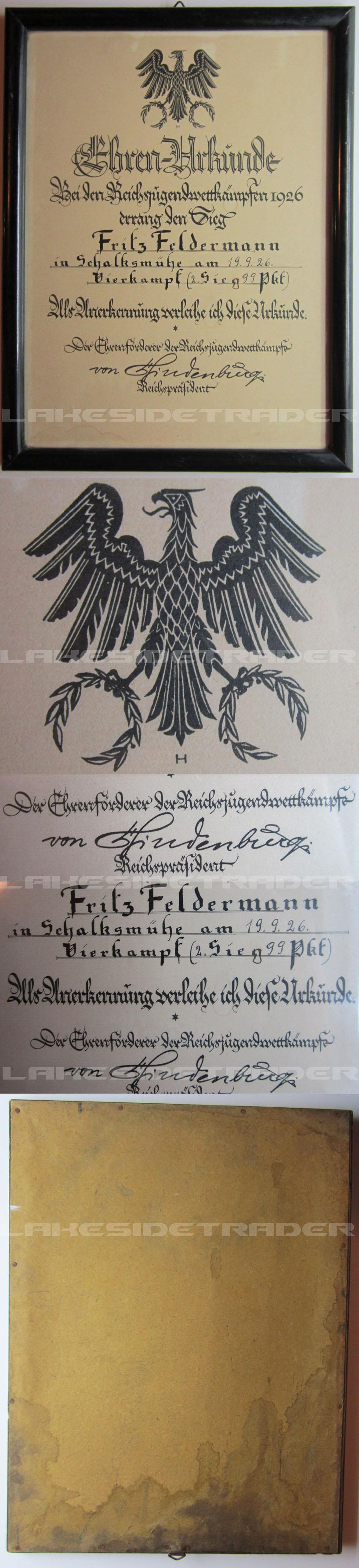 Hindenburg SIgnature on award document
