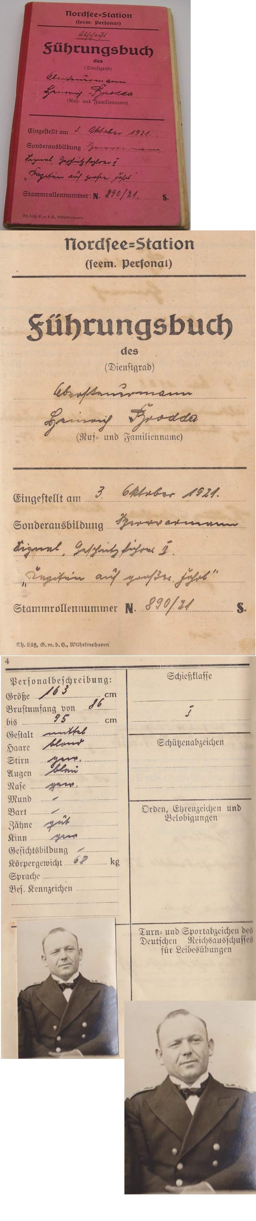 PreWar Red Fuhrungsbuch Service Record Heinrich Brodda