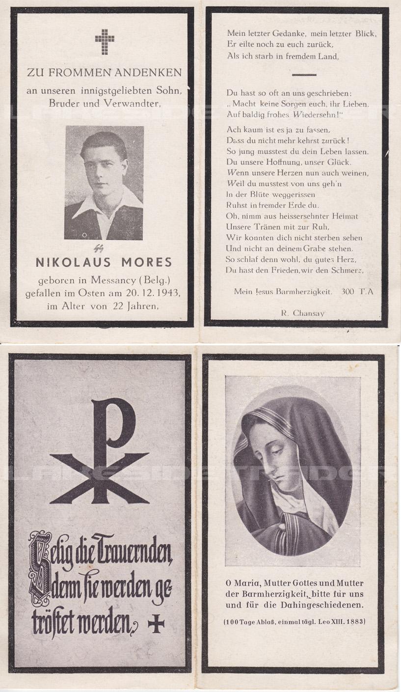 Nikolaus Mores Remembrance Card