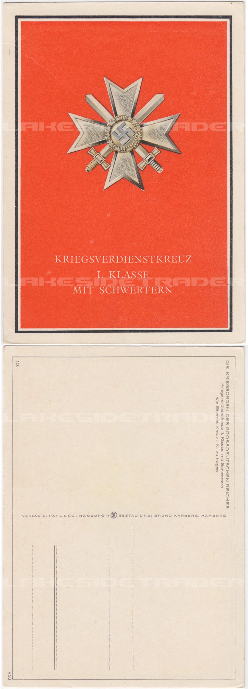 1st Class War Merit Cross Postcard