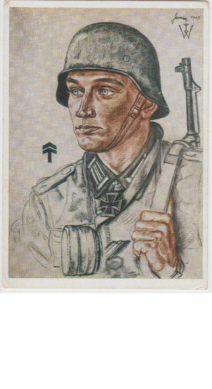 Oberleutnant Alfred Germer Knight's Cross winner Postcard