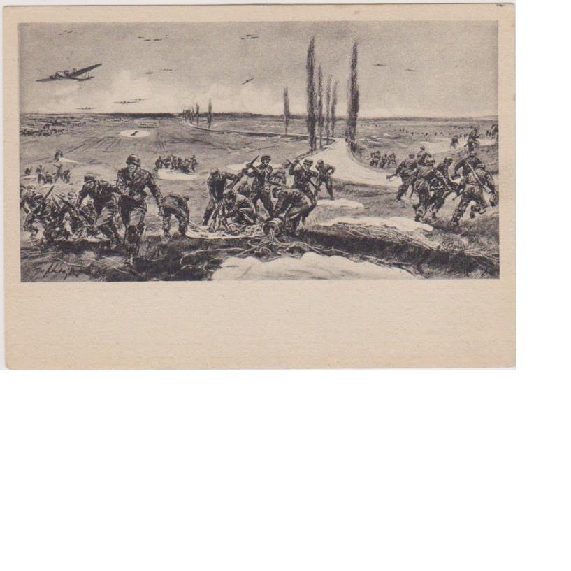 Fallschirmjager Battle Scene Postcard