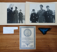 HJ Flak Helper Service Certificate, Breast Eagle & Photo Group