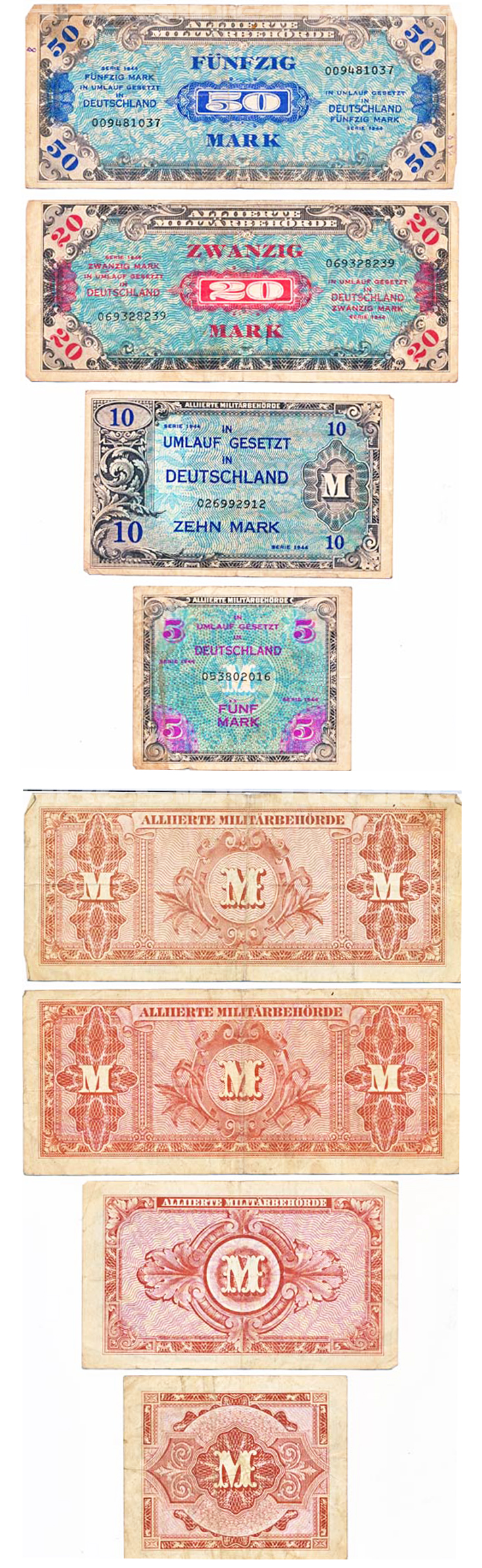 Four piece Allied Military Currency 1944