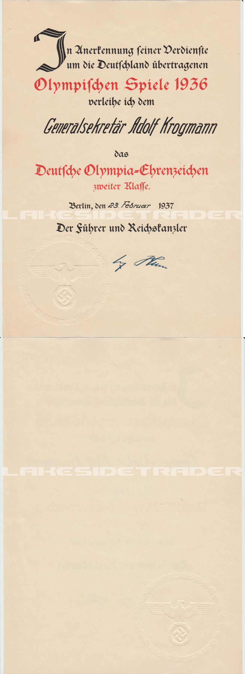 Award Document for the 2nd Class Olympic Medal