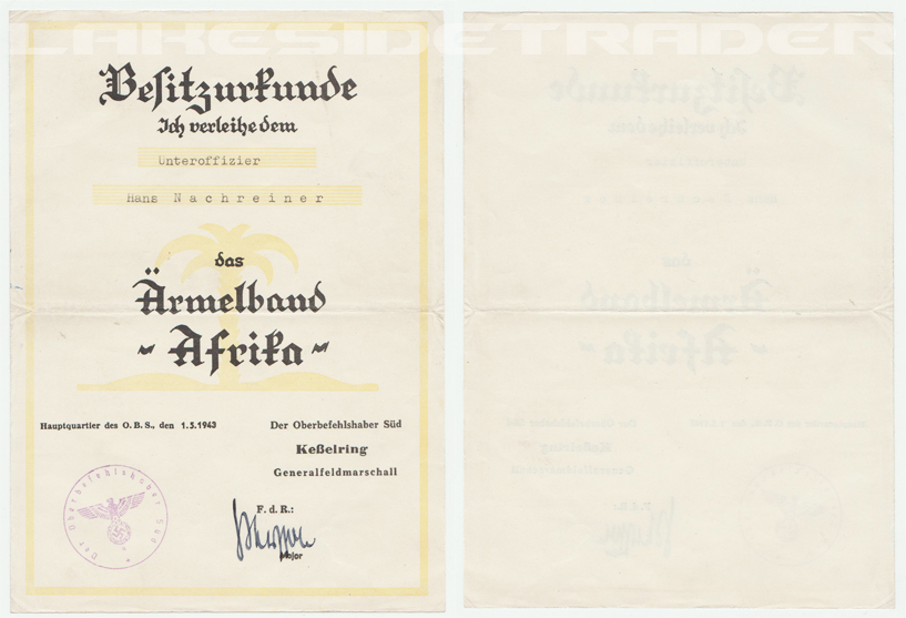 Official Award Document for the Afrika Cufftitle