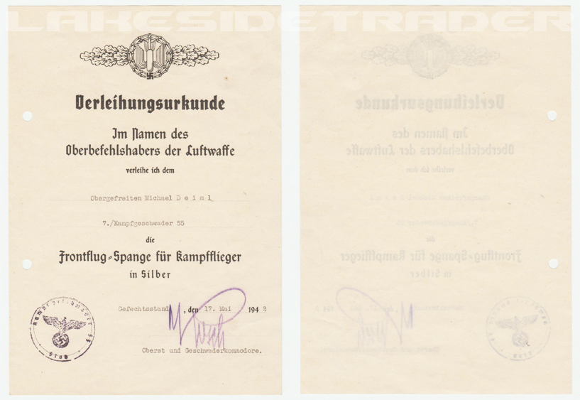 Award Document for the Bomber Flight Clasp