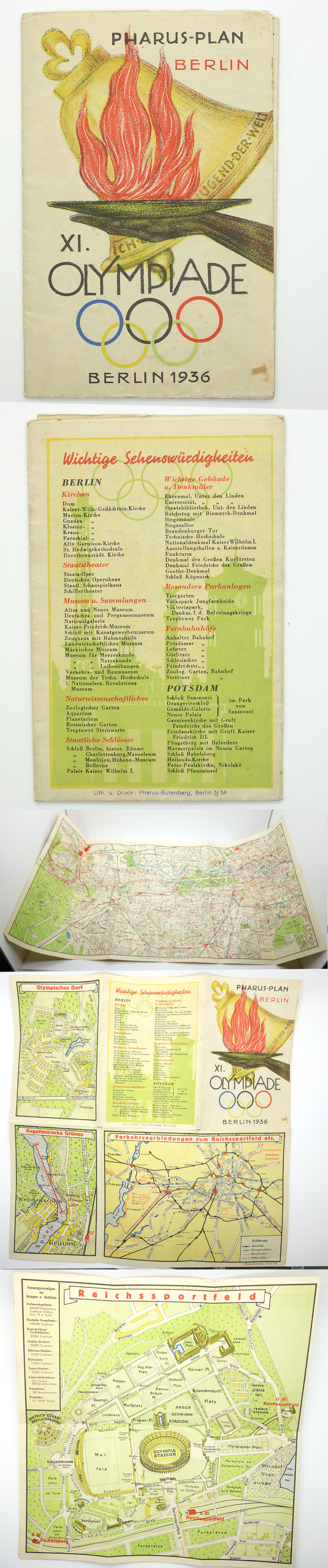 1936 Berlin Olympic Guide Map of Venues etc