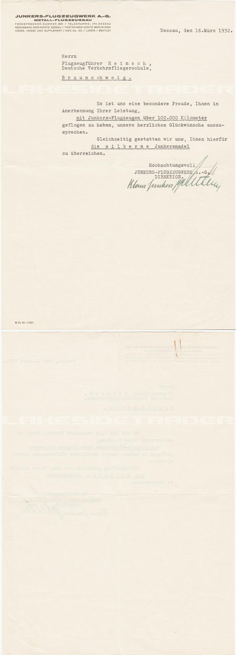 Junkers Flugzeugwerk 100,000 Km Flight Recognition Document 1932