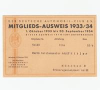 DDAC Membership Card with added Adolf Hitler name