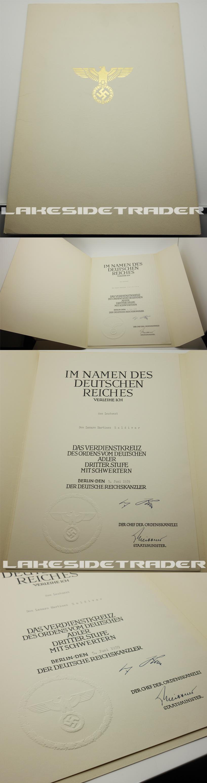 Award Certificate for Order of German Eagle 3rd Class Breast Cross w Swords