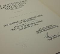 Award Certificate for Eagle Order Medal of Merit w Swords in Silver