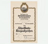 S-Boat Badge - Award Document