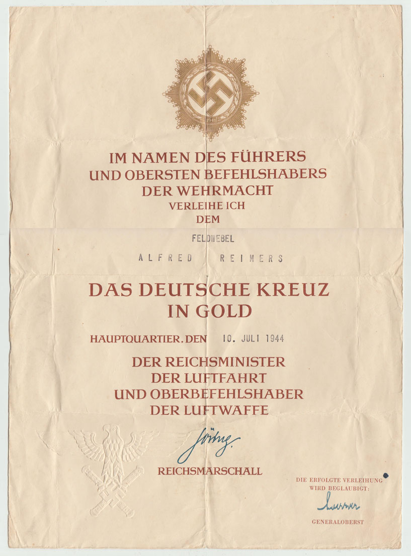 A 1944 German Cross in Gold Award Document to Luftwaffe