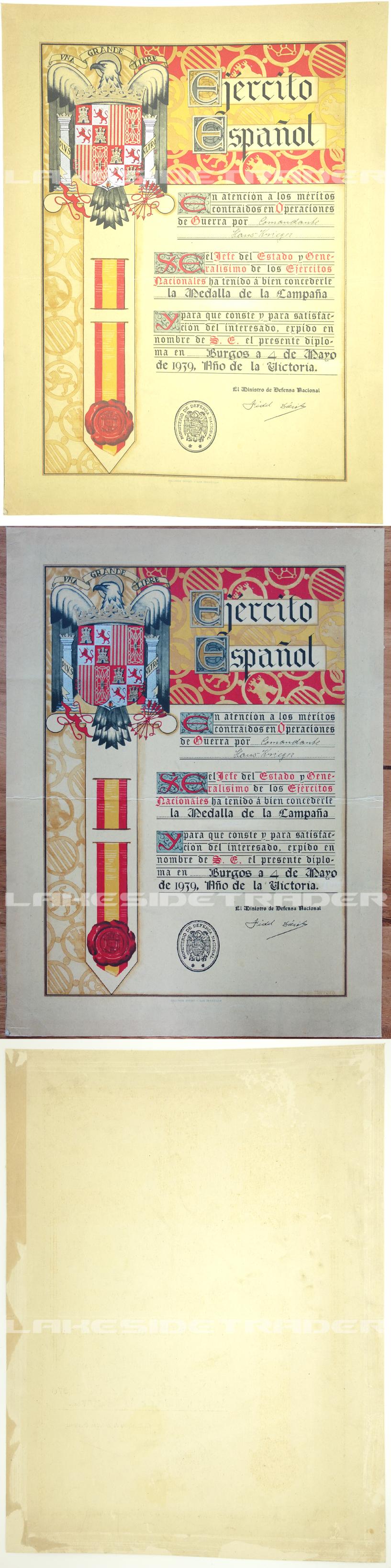 Spanish Civil War Campaign Medal Award Document