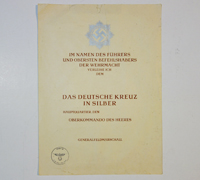 German Cross in Silver Award Document