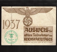 RAD Member ID Card for the Reichsparteitages 1937