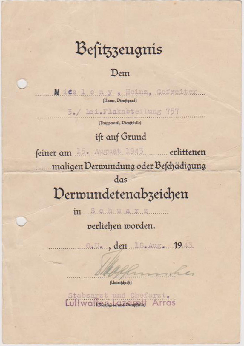 Document for Black Wound Badge
