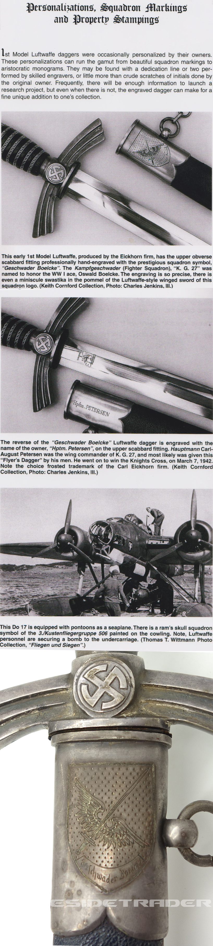 Personalized Published 1st Model Luftwaffe Dagger to a RK winner