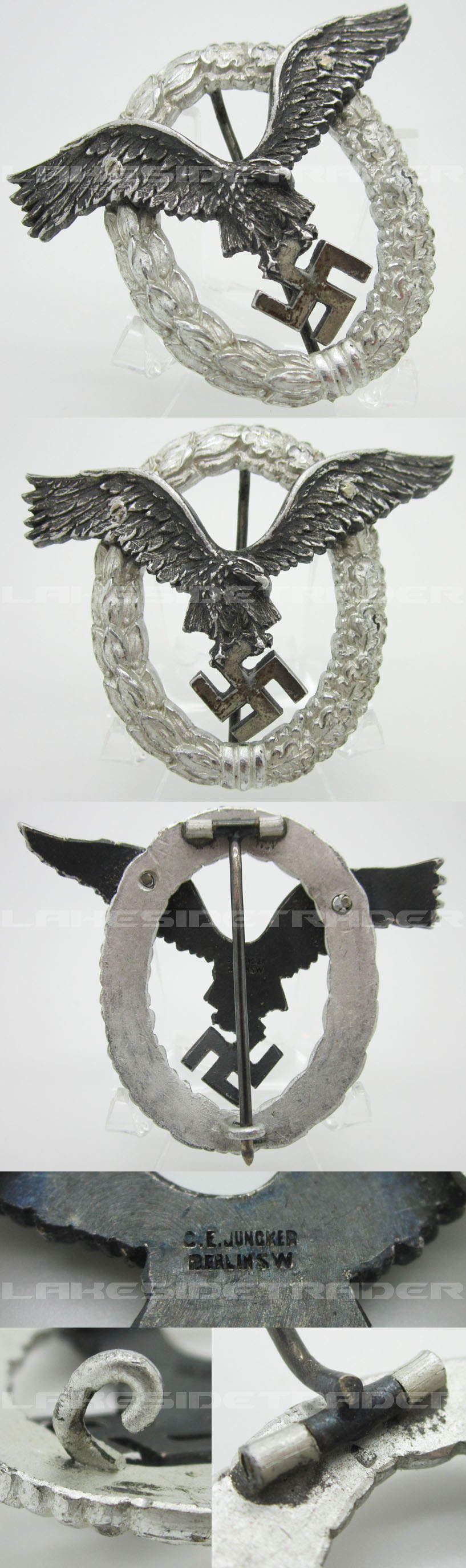 Luftwaffe Aluminum Pilot Badge by Juncker