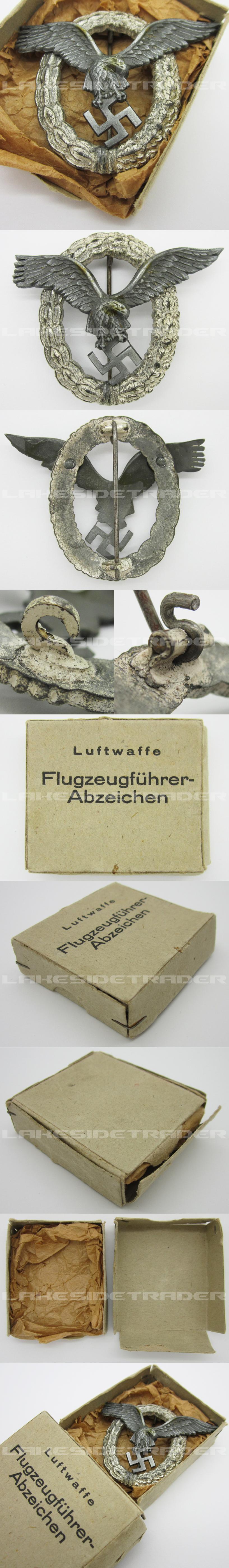 Cased Luftwaffe Pilot Badge by FLL