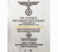Friedrich Kimmich's Knights Cross Formal Award Document