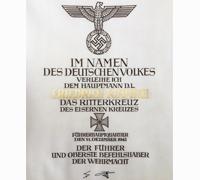 Friedrich Kimmich's Knights Cross Formal Award Document