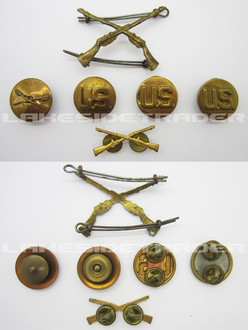 Six piece US Metal Insignia Group