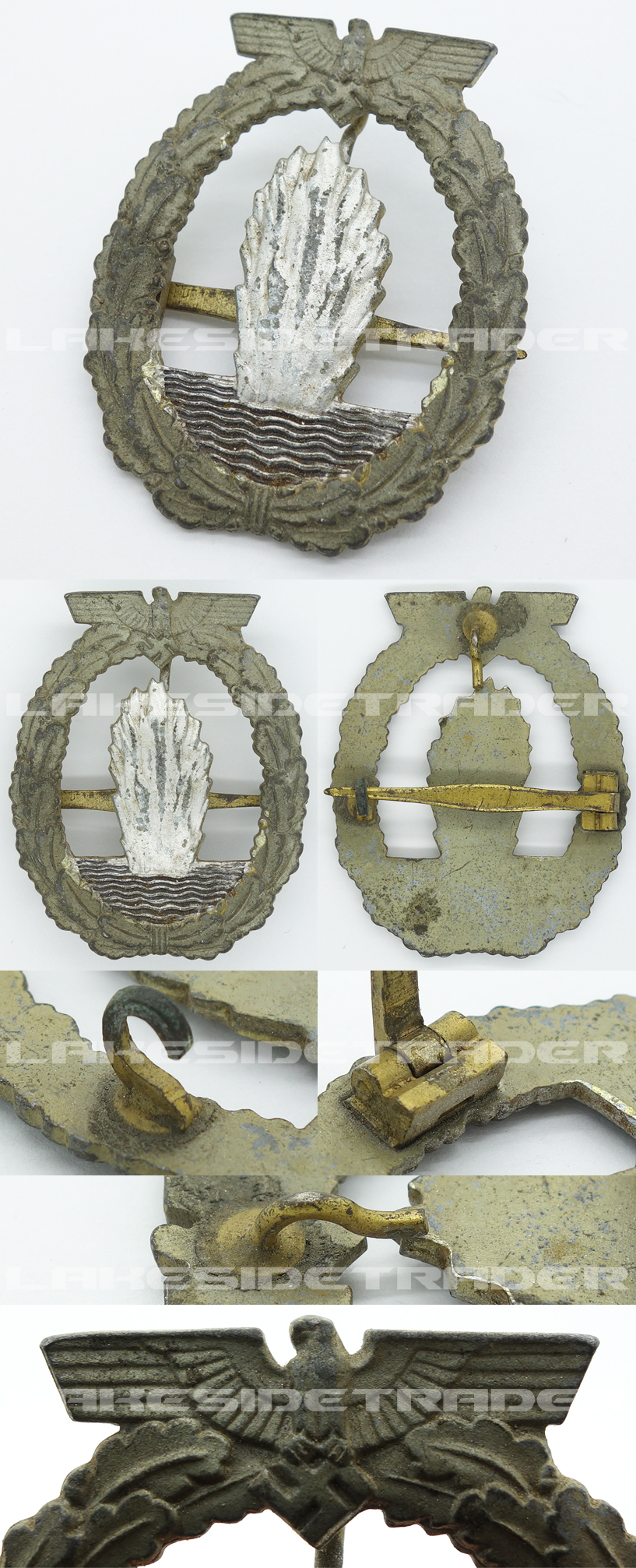 Navy Minesweeper Badge by W. Deumer with Horizontal Pin