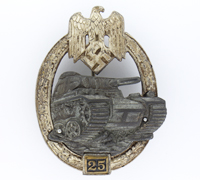 Grade II Silver Panzer Assault Badge by Juncker
