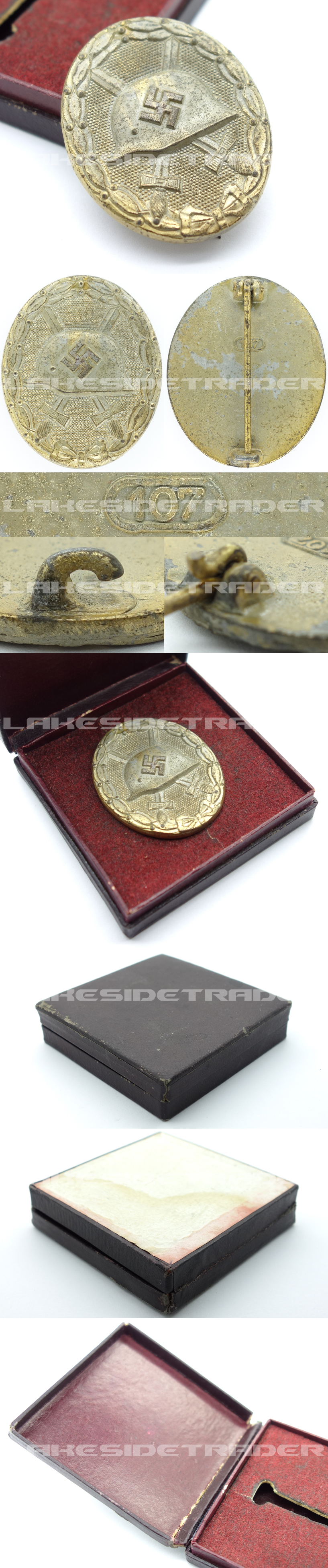 Cased Gold Wound Badge by 107