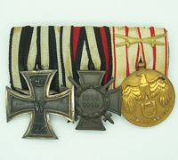 Three Place Austrian WWI Medal bar