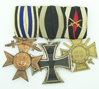 Three Place Bavarian WWI Medal bar
