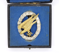 Cased Luftwaffe Paratrooper Badge by GWL