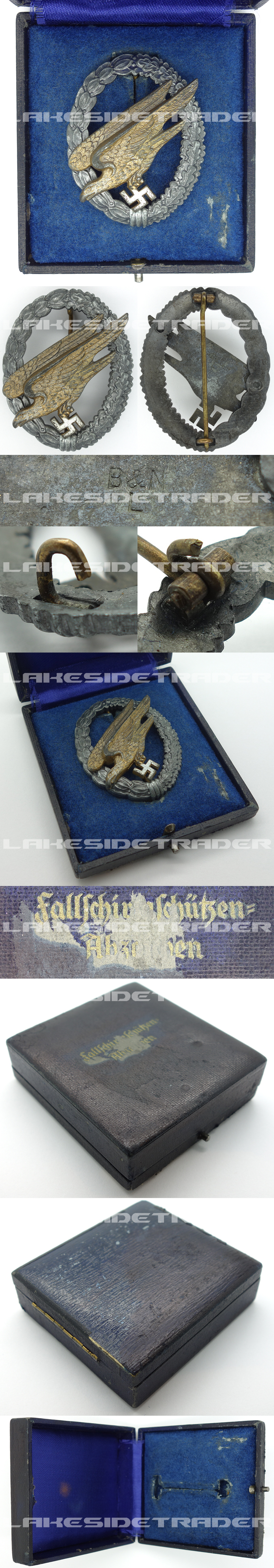 Cased Luftwaffe Paratrooper Badge by B&N