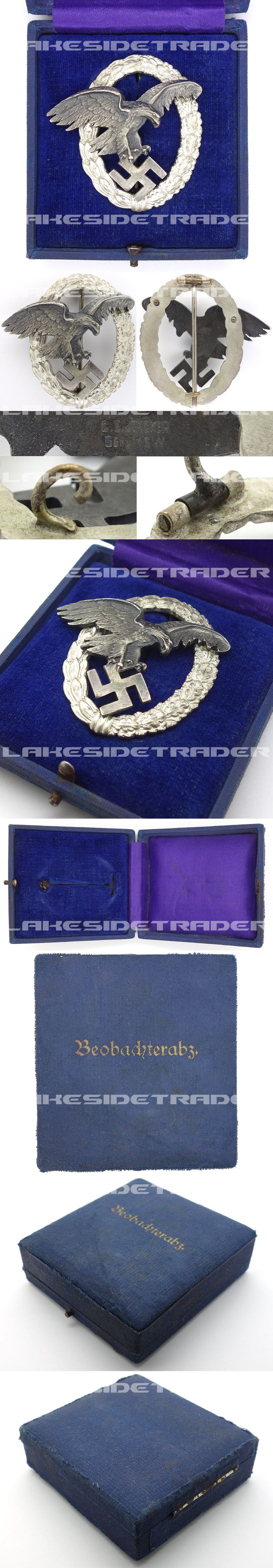 Cased Early J1 Luftwaffe Observer Badge by C.E. Juncker