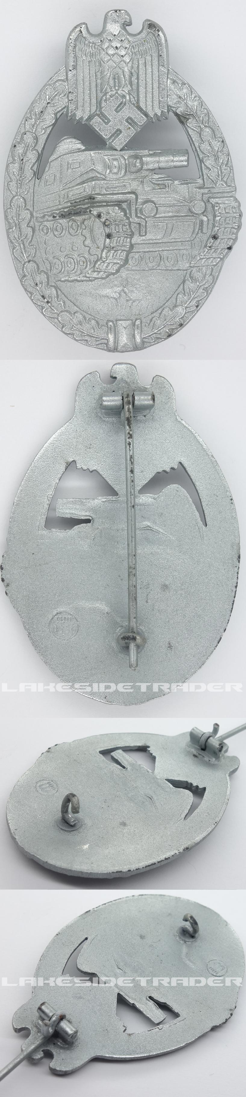 Beauty Silver Panzer Assault Badge by F. Wiedmann