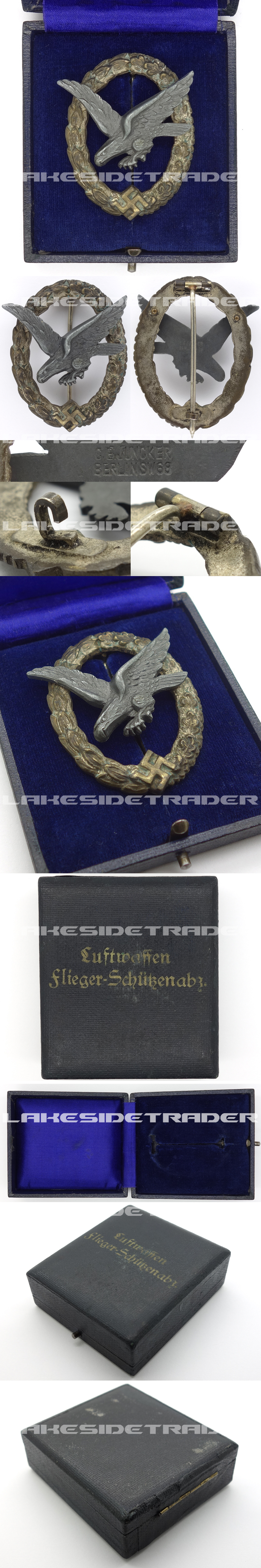 Cased Luftwaffe Air Gunner Badge by Juncker