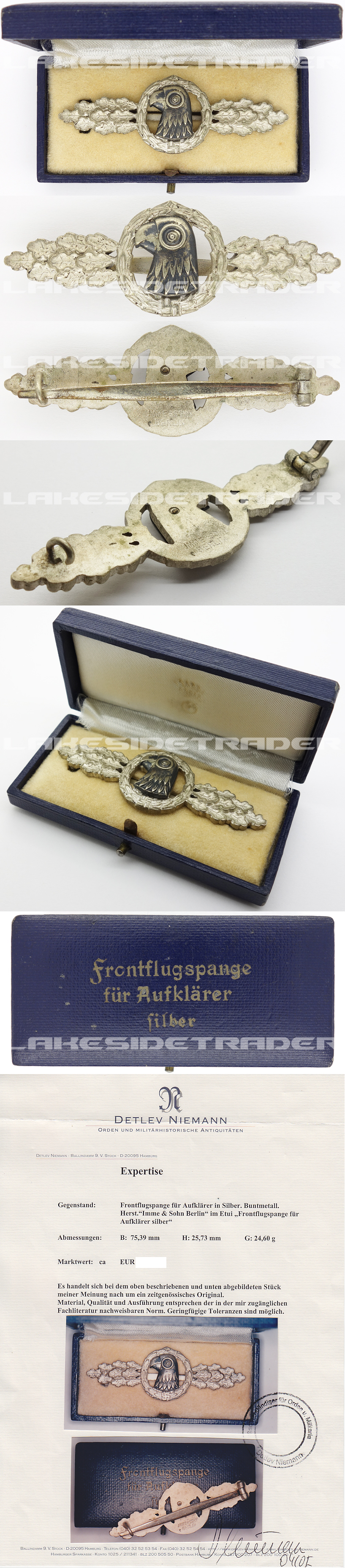 Cased Luftwaffe Reconnaissance Clasp in Silver by JMME