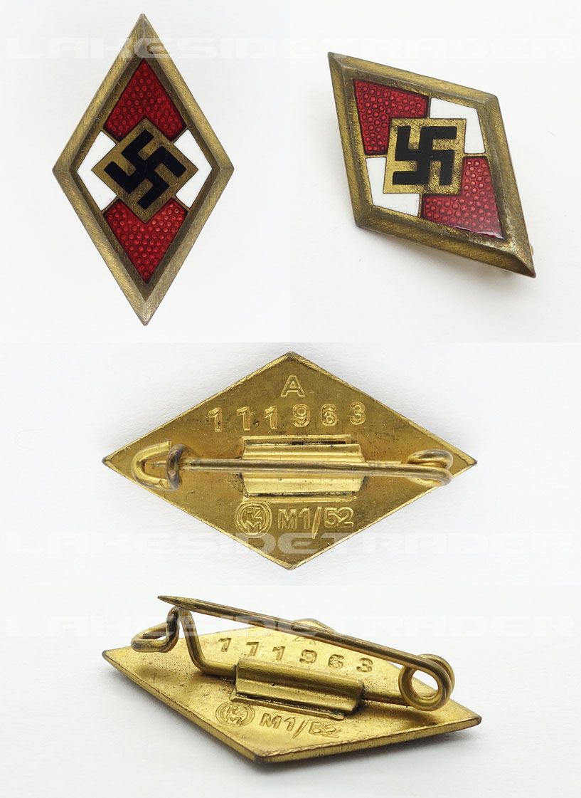 Gold Hitler Youth Honor Badge by RZM M1/52